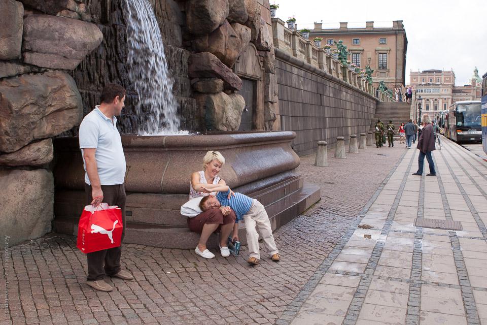 Kamp vid fontän