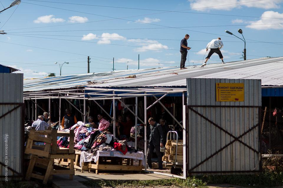 Män på tak