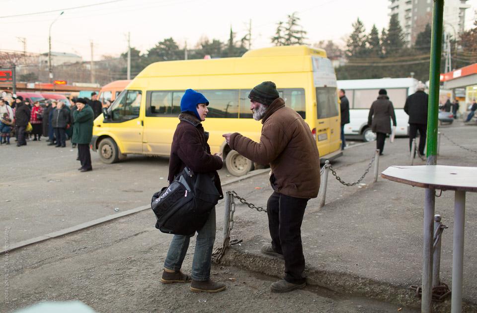Samtal på busstation