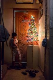 Pojke vid liten julgran